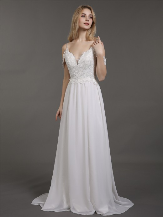 Babaroni Gaia Bretelle Spaghetti Mousseline Simple Robes de Mariée