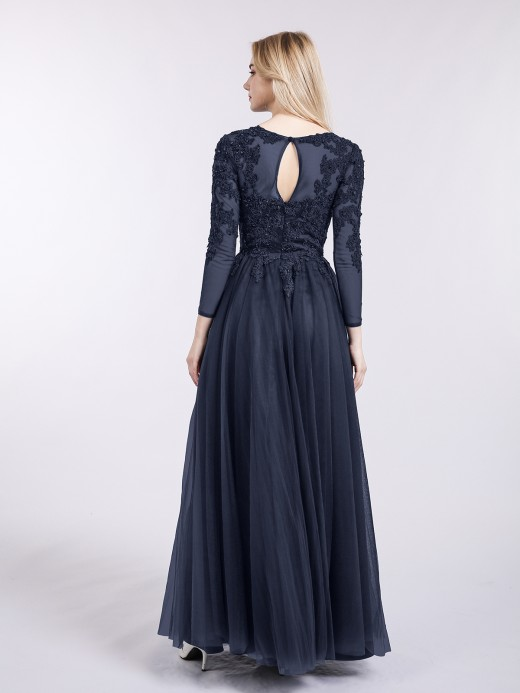 Babaroni Martha Tulle avec Applique Manches Longues Robe