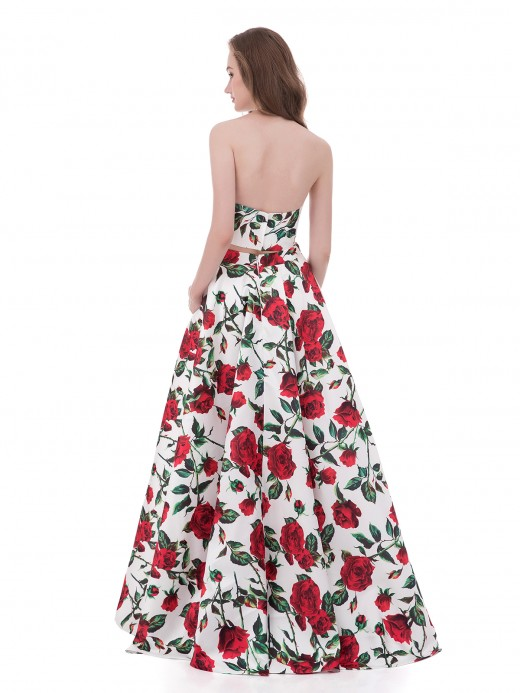 Babaroni Sabina Robe Deux Pièces Licou Rose Rouge Floral