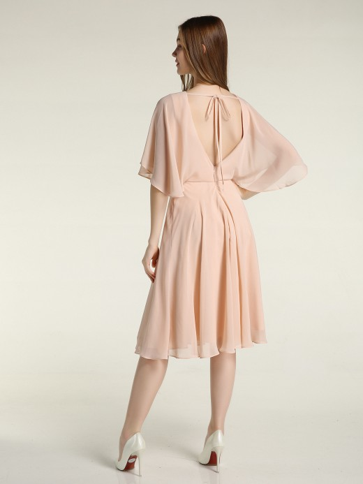 Babaroni Selena Scoop Col Flotter Manches Court Mousseline Robes