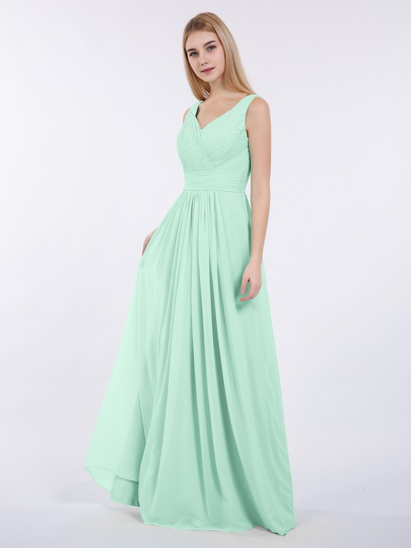 A-ligne Mousseline Mint Green Zip Ruched, Pleated Longueur au sol Col en V Sans Manches Robes Demoiselle d'honneur