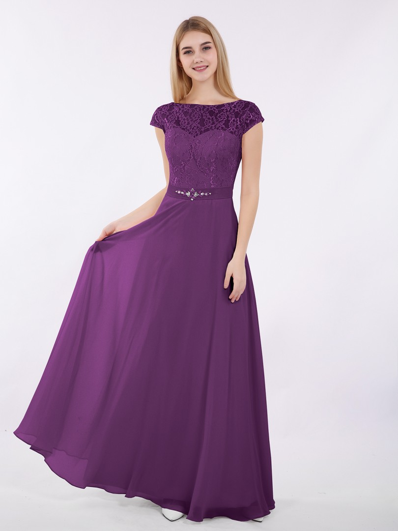 A-ligne Mousseline Grape Zip Beaded, Sash Longueur au sol Col bateau Cap Sleeve Robes Demoiselle d'honneur