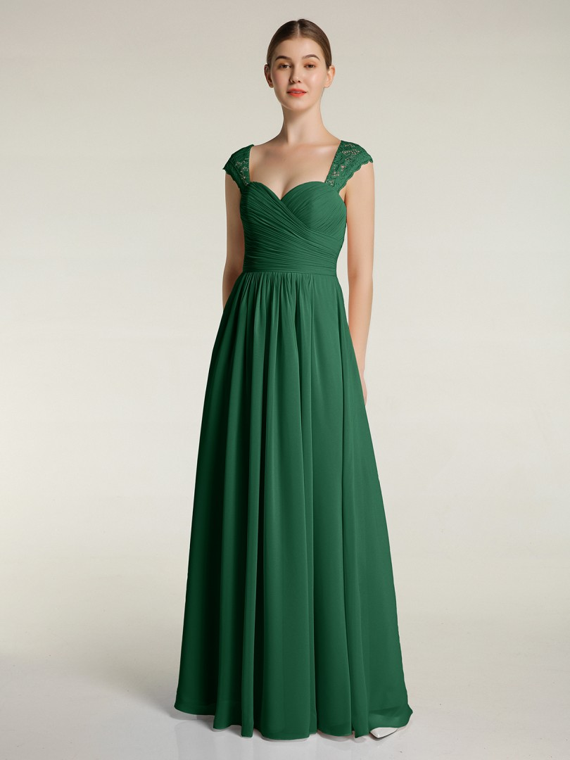 A-ligne Mousseline Dark Green Zip Lace, Ruched, Pleated Longueur au sol Col en cœur Cap Sleeve Robes Demoiselle d'honneur