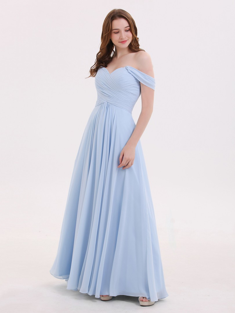 Empire Mousseline Sky Blue Zip Ruched, Pleated Longueur au sol Hors de l'épaule Cap Sleeve Robes Demoiselle d'honneur