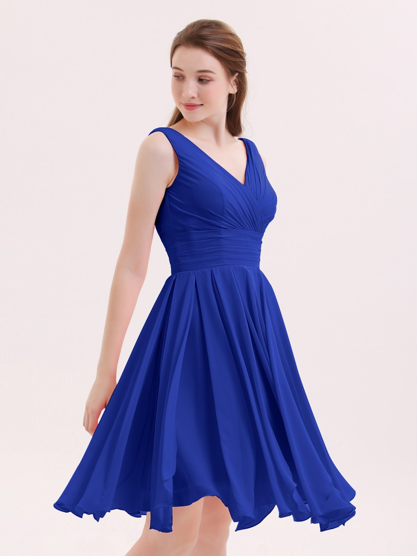 A-ligne Mousseline Royal Blue Zip Ruffle, Pleated Longueur de genou Col en V Sans Manches Robes Demoiselle d'honneur