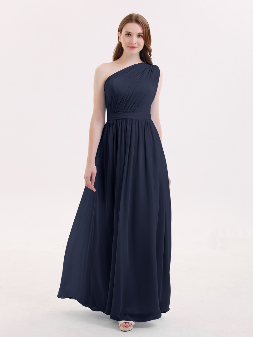 A-ligne Mousseline Dark Navy Zipper Side Ruffle, Pleated Longueur au sol Une épaule Sans Manches Robes Demoiselle d'honneur