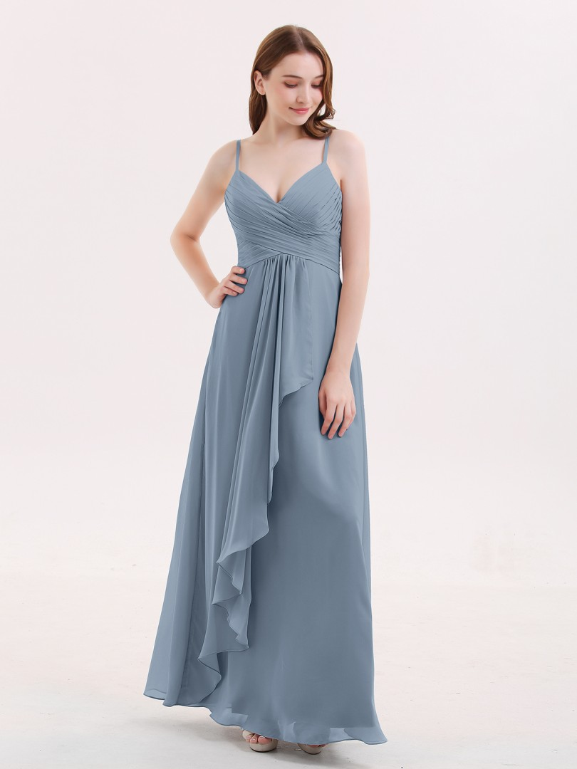 Empire Mousseline Dusty Blue Zip Ruched, Pleated Longueur au sol Col en V Bretelles spaghetti Robes Demoiselle d'honneur
